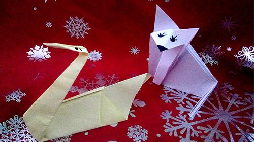 renard polaire et cygne en origami