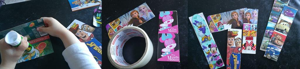 marques pages DIY avec emballage carton et étiquettes disney