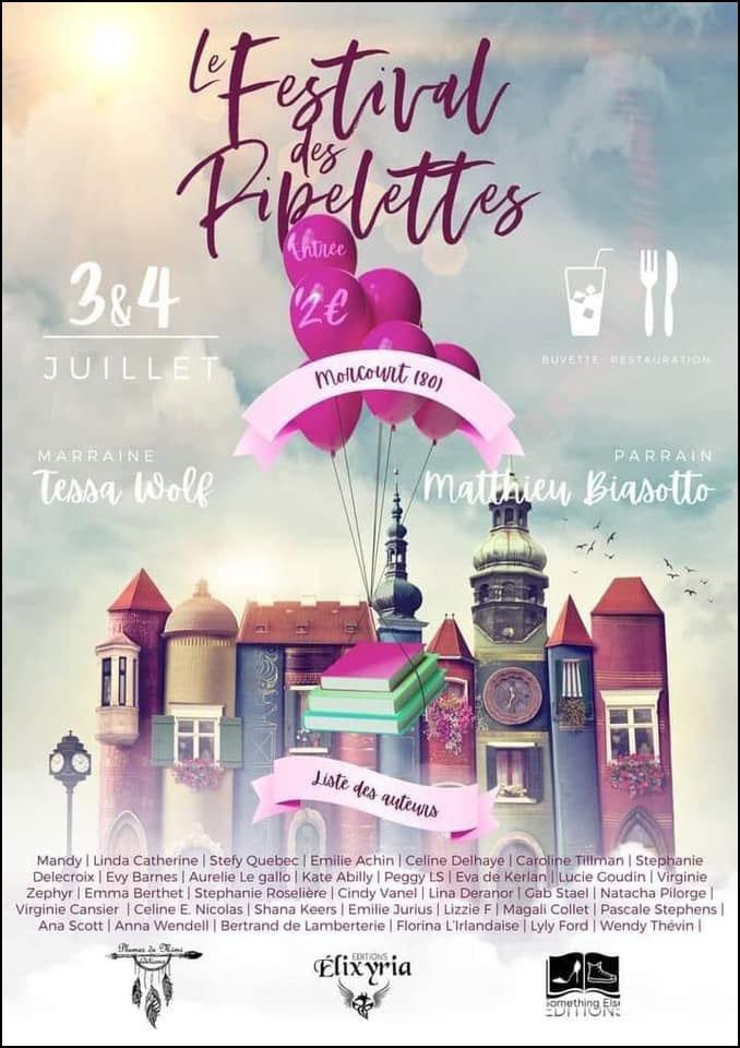 Affiche du salon littéraire de Morcourt dans la Somme : les Festival des pipelettes avec plein d'auteurs.
