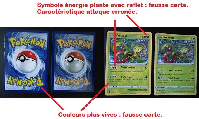 exemple de fausses cartes pokémon pour comparaison